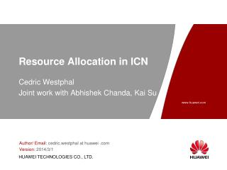 Resource Allocation in ICN