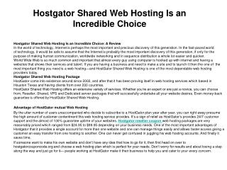 Hostgator Shared Web Hosting Is an Incredible Choice