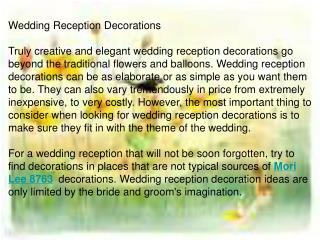 Wedding Reception Decorations