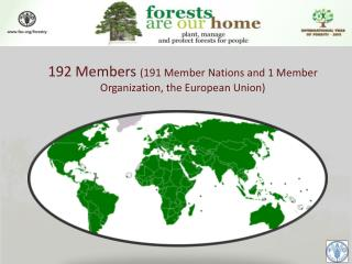 192 Members  (191 Member Nations and 1 Member Organization, the European Union)