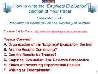 How to write the ' Empirical Evaluation '  Section of Your Paper