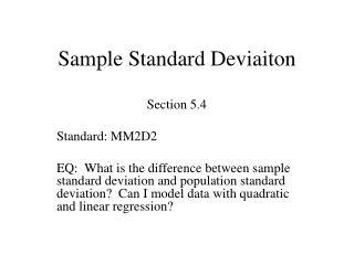 Sample Standard Deviaiton