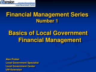 Financial Management Series Number 1