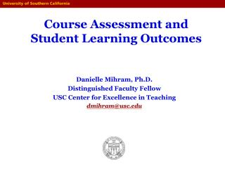 Course Assessment and Student Learning Outcomes
