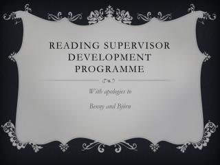 Reading  sUPERVISOR DEVELOPMENt  Programme