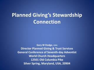 Planned Giving's Stewardship Connection