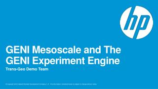 GENI  Mesoscale  and The GENI Experiment Engine