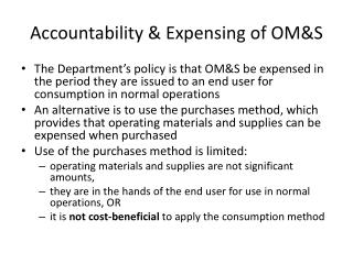 Accountability & Expensing of OM&S