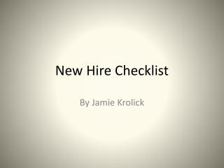 New Hire Checklist