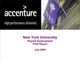 New York University Payroll Assessment