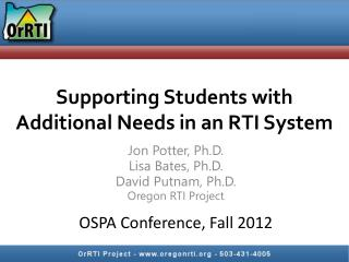 Supporting Students with Additional Needs in an RTI System