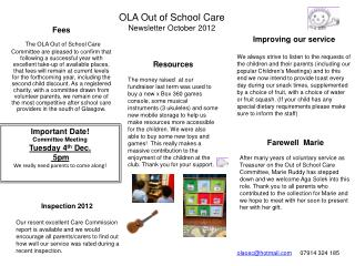 OLA Out of School Care Newsletter October 2012