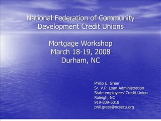 National Federation of Community Development Credit Unions ...