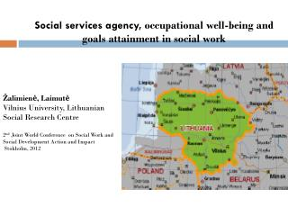 Social services agency,  occupational well-being  and goals attainment  in  social work