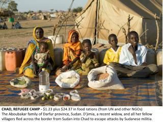 CHAD, REFUGEE CAMP -  $1.23 plus $24.37 in food rations (from UN and other NGOs)