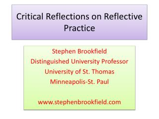 Critical Reflections on Reflective Practice