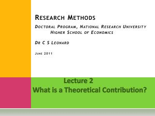 Lecture 2 What is a Theoretical Contribution?