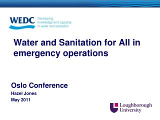 Water and Sanitation for All  in emergency operations