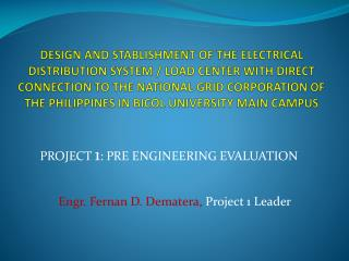 PROJECT  1 : PRE ENGINEERING EVALUATION