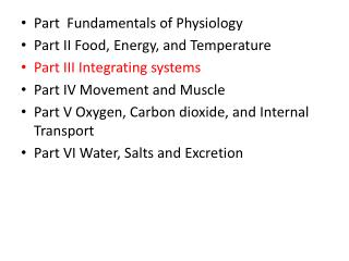 Part  Fundamentals  of Physiology Part II Food, Energy, and Temperature