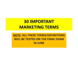 30 IMPORTANT  MARKETING  TERMS