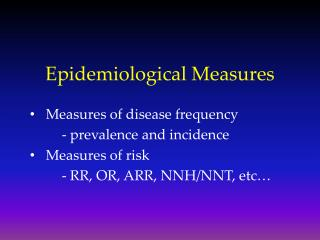 Epidemiological Measures