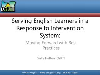 Serving English Learners in a Response to Intervention System: