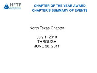 CHAPTER OF THE YEAR AWARD CHAPTER'S SUMMARY OF EVENTS