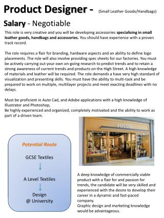 Potential Route GCSE Hospitality NVQ  Level 2 in Food and Drink Service,   or