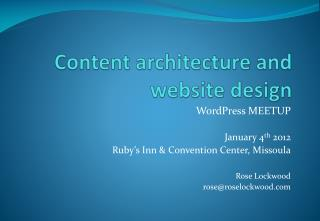Content architecture and website design