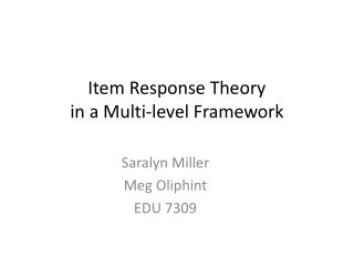 Item Response Theory  in a Multi-level Framework