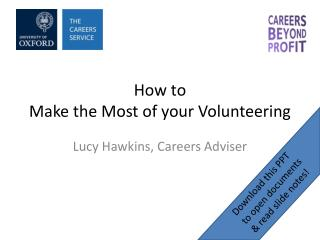 How to  Make the Most of your Volunteering