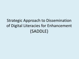 Strategic Approach to Dissemination of Digital  Literacies  for Enhancement (SADDLE)