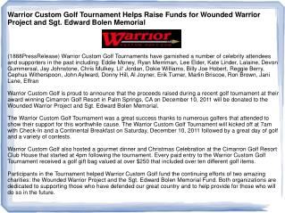 Warrior Custom Golf Tournament Helps Raise Funds for Wounded