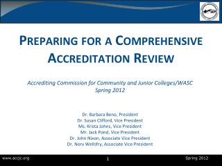 Preparing for a Comprehensive Accreditation Review