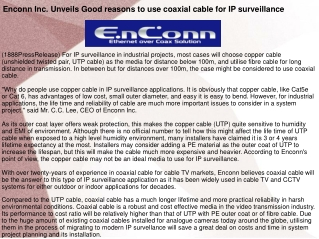 Enconn Inc. Unveils Good reasons to use coaxial cable for IP