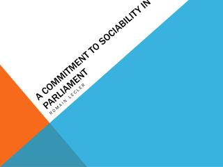 A COMMITMENT TO SOCIABILITY IN parliament