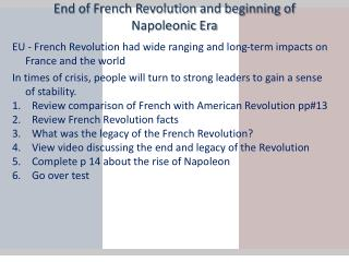 End of French Revolution and beginning of Napoleonic Era