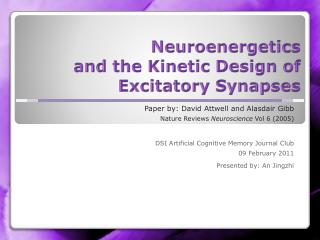 Neuroenergetics and the Kinetic Design of Excitatory Synapses