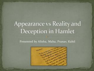 Appearance  vs  Reality and Deception in Hamlet