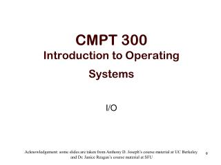 CMPT 300 Introduction to Operating Systems