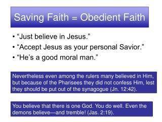 Saving Faith = Obedient Faith