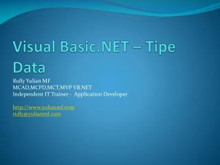 Visual Basic.NET  – Tipe Data