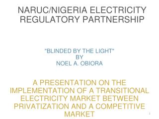 naruc/nigeria electricity regulatory partnership