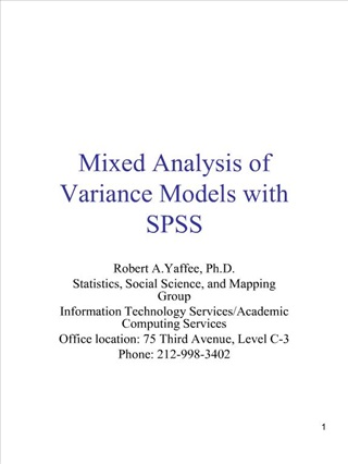 Mixed Analysis of Variance Models with SPSS