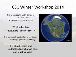 CSC Winter Workshop 2014