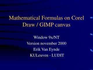 Mathematical Formulas on Corel Draw / GIMP canvas