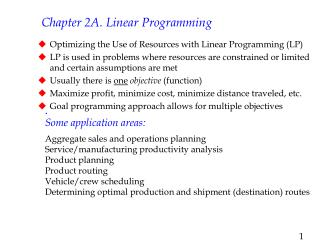 Chapter 2A. Linear Programming