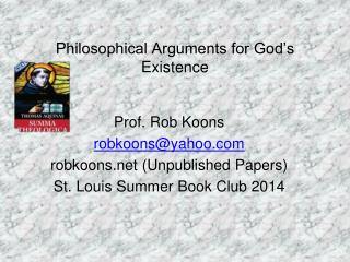 Philosophical Arguments for God's Existence