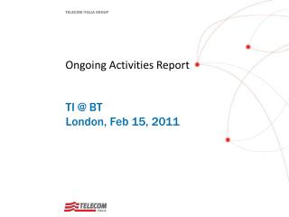 Ongoing Activities Report